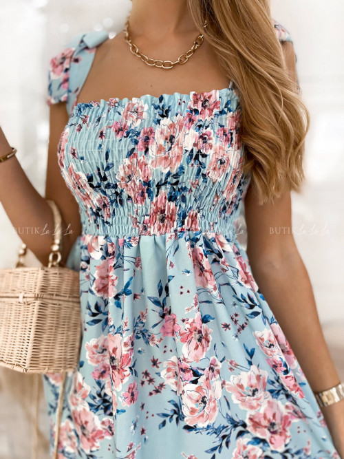 sukienka niebieska w kwiatki San