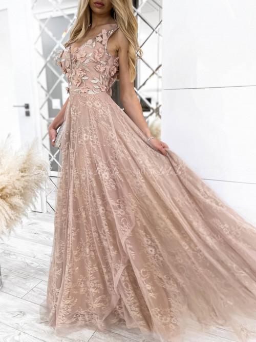 sukienka pudrowa maxi Messa