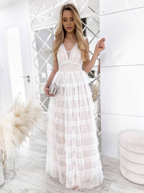 sukienka maxi biała Servio