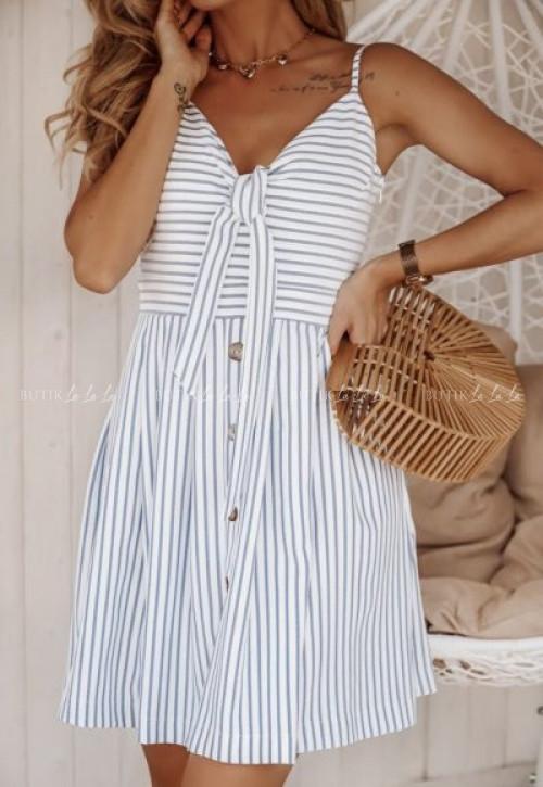 sukienka biała w paski Livii