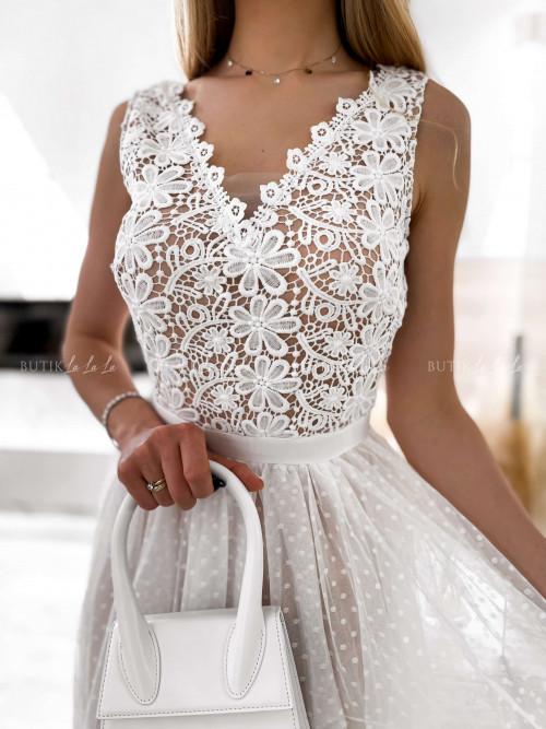 sukienka biała z gipiurą Sensual