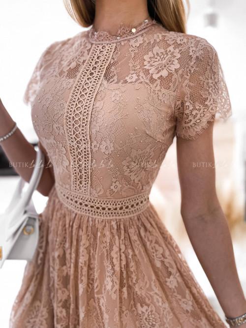 Sukienka pudrowa koronkowa Celina