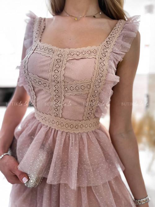 sukienka pudrowa mini Lacoma