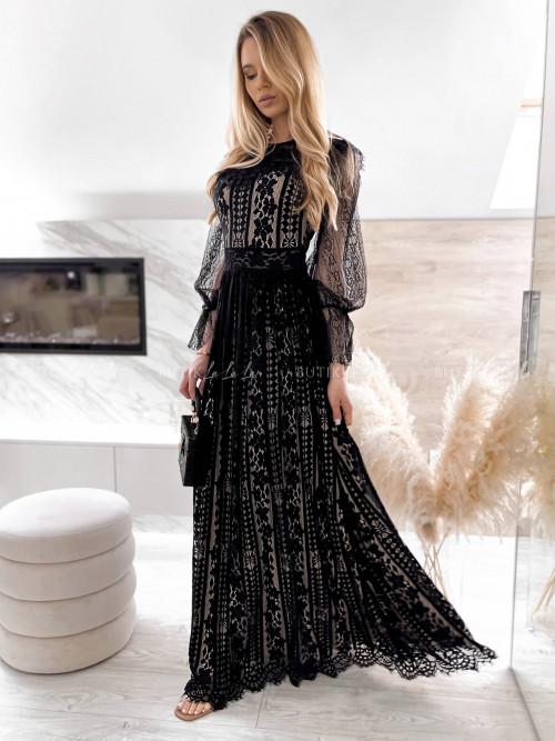 sukienka czarna koronkowa maxi Julia