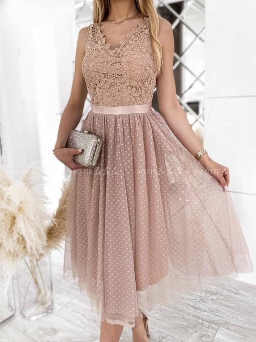 sukienka pudrowa z gipiurą Sensual