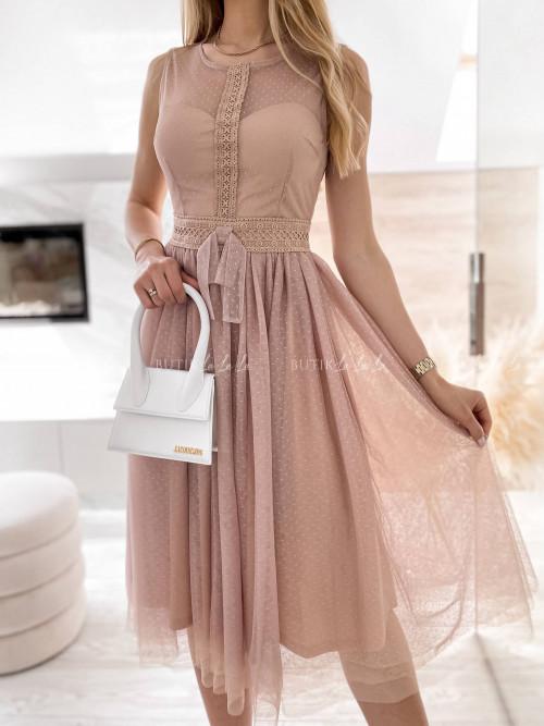 sukienka pudrowa tiulowa Beza