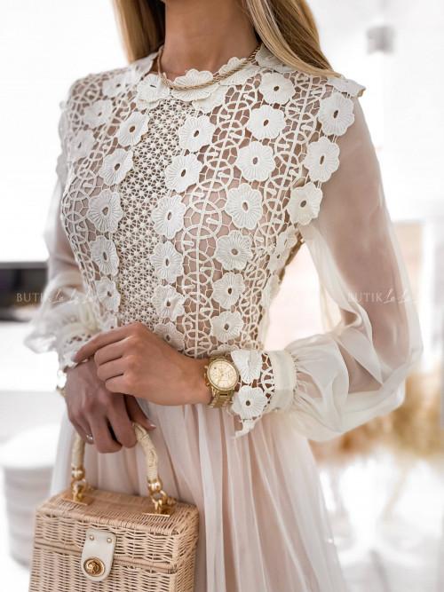 sukienka kremowa tiulowa Leonessa