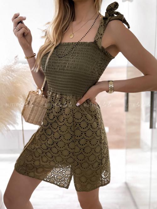 sukienka ażurowa khaki Pella