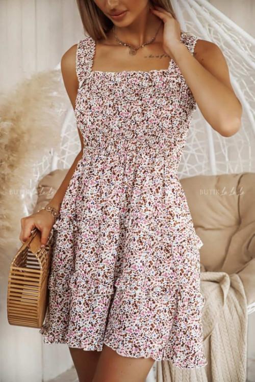 sukienka pudrowa z marszczeniem Liz