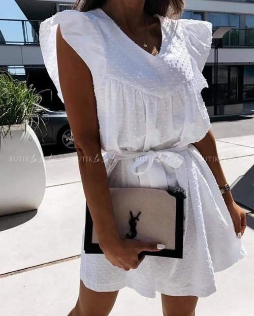 sukienka biała z paskiem Vassi