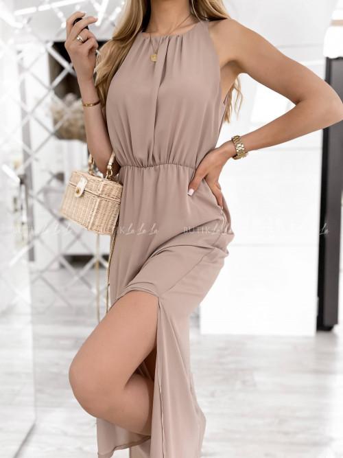sukienka beżowa maxi Wanessa