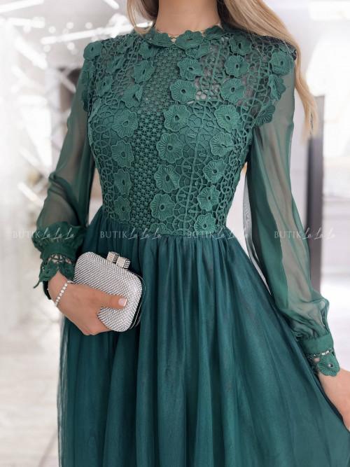 sukienka butelkowa zieleń tiulowa Leonessa