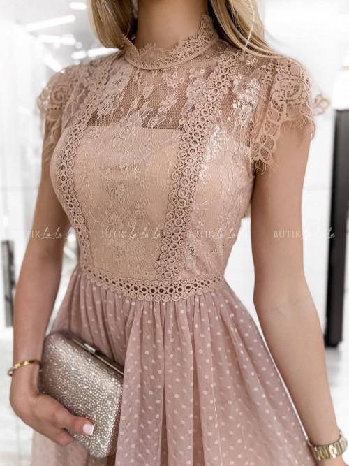 sukienka pudrowa koronkowa Selima