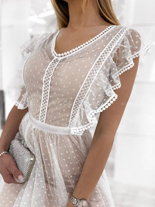 sukienka midi biała z falbankami Senna