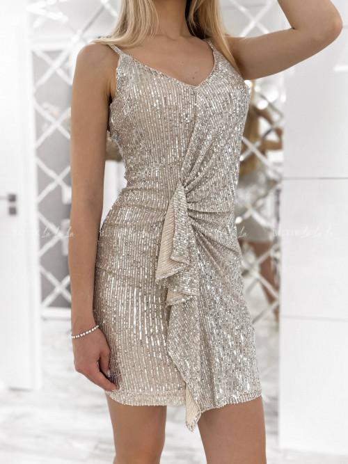 sukienka srebrna cekinowa Hass
