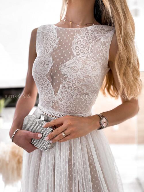 sukienka biała koronkowo tiulowa Danity