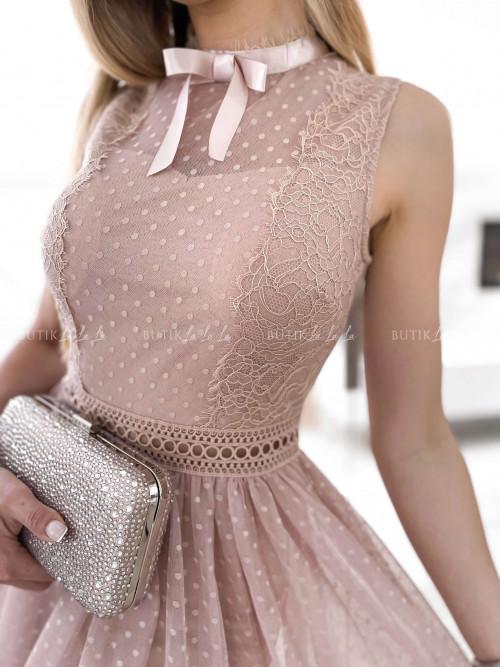 sukienka pudrowa midi tiulowa Wenus