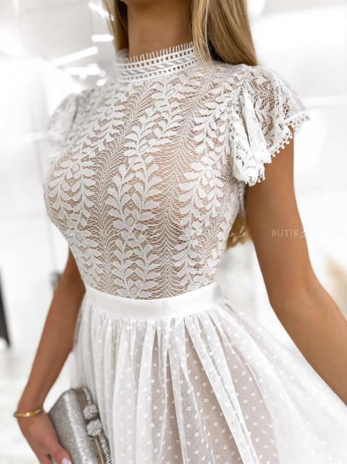 sukienka biała z falbanką na rękawie Rossati