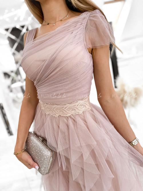 sukienka maxi z tiulowym dołem i asymetryczną górą pudrowa Zante