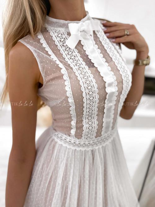 sukienka biała midi z kokardką Lessi