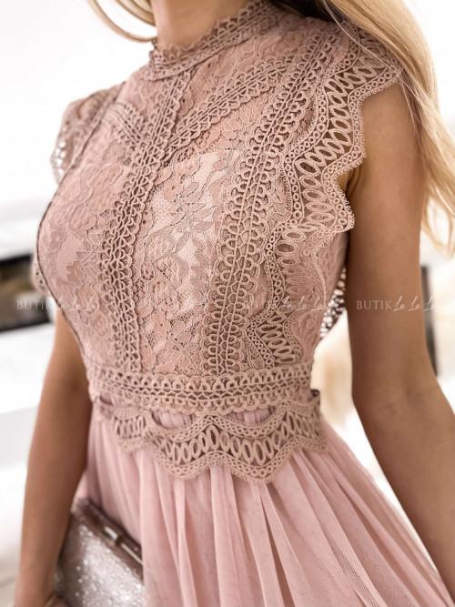 Sukienka z koronkową górą i tiulowym dołem pudrowa Lili McBy