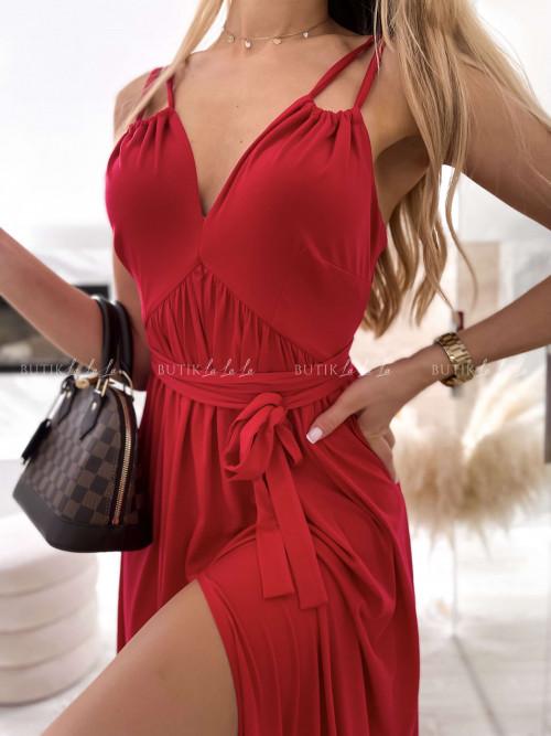 sukienka maxi czerwona wiązana Jasan