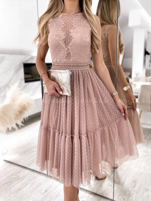 sukienka pudrowa koronkowo tiulowa Danity