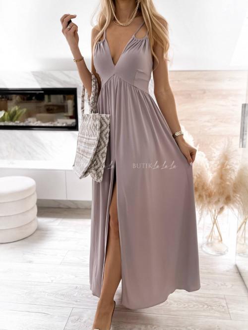 sukienka maxi beżowa wiązana Jasan