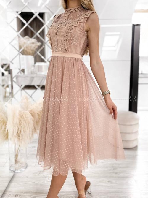 sukienka pudrowa tiulowa Kasandra