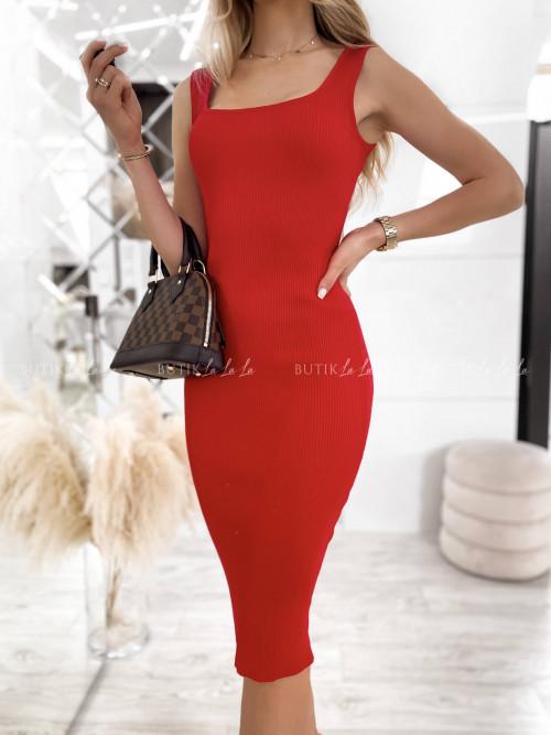 sukienka czerwona dopasowana Hass