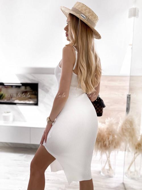 sukienka prążkowana biała Anna