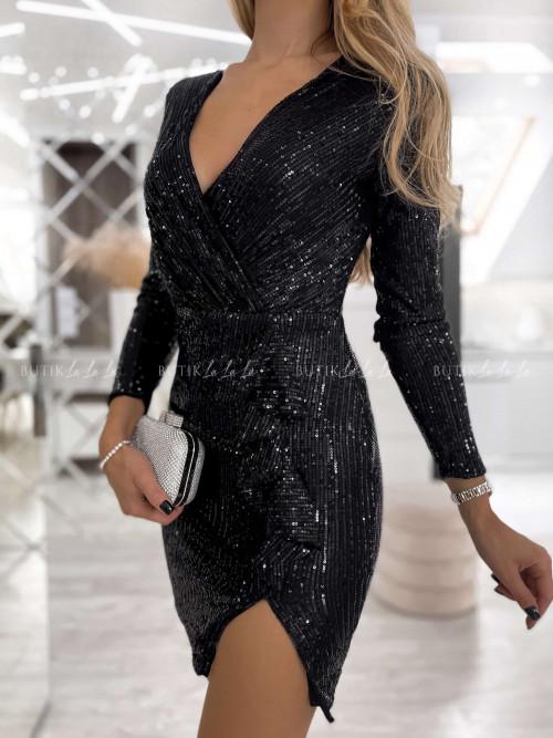 Sukienka Czarna cekinowa z falbanką Jake