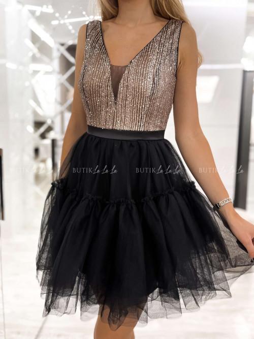 sukienka czarno złota z cekinami Liran