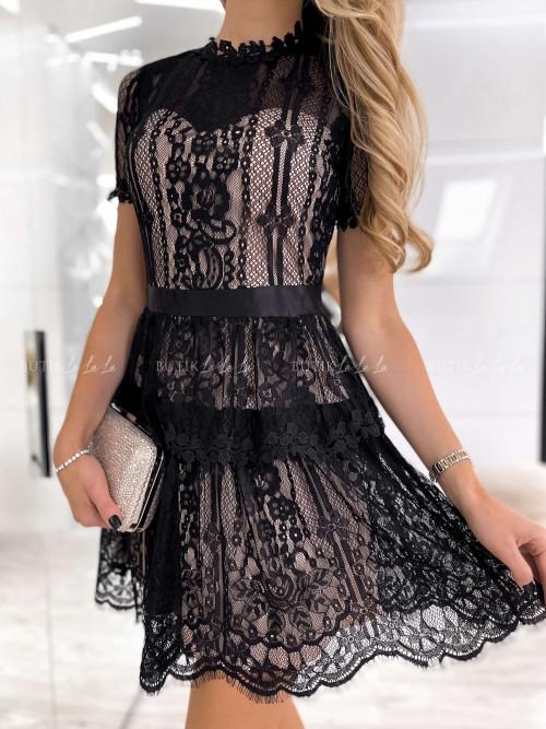 sukienka koronkowa czarno bezowa Larisa