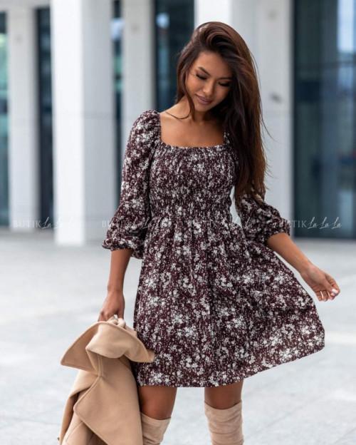 sukienka brązowa w kwiatowy wzór Lun
