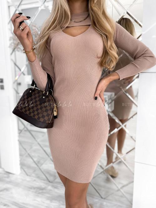 sukienka beżowa prążkowana Tisha