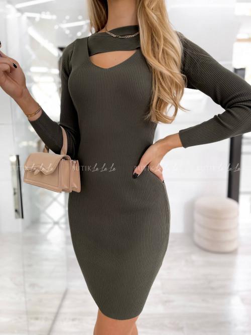 sukienka khaki prążkowana Tisha