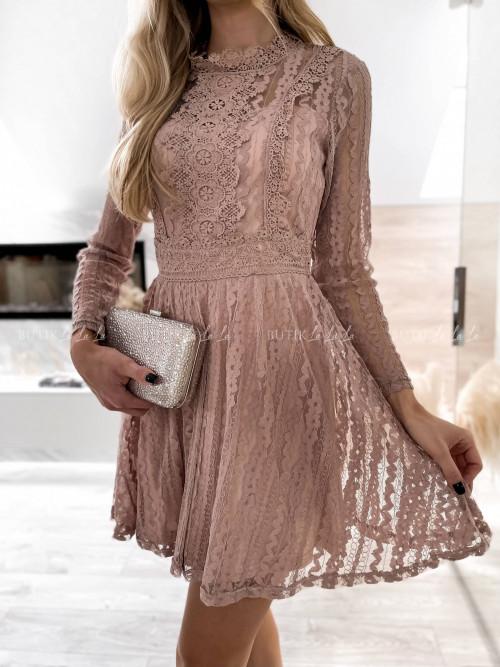 sukienka koronkowa beżowa Airis