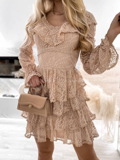 sukienka koronkowa beżowa Falonica