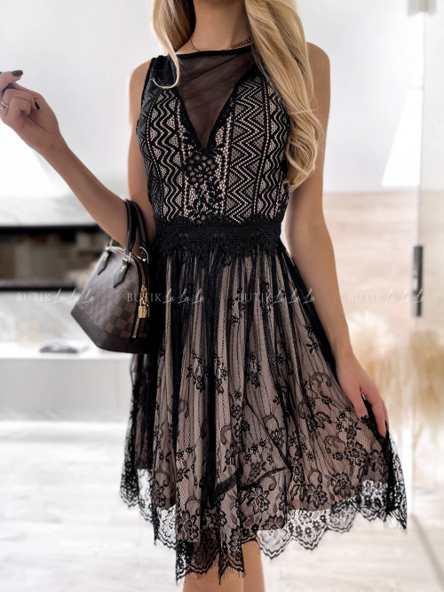 sukienka koronkowa czarno beżowa Elenza