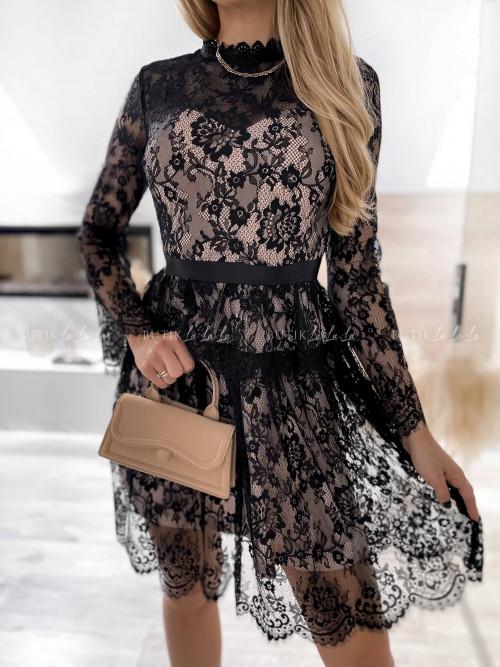 sukienka czarno beżowa koronowa Gala