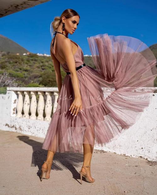 sukienka tiulowa pudrowa Picco