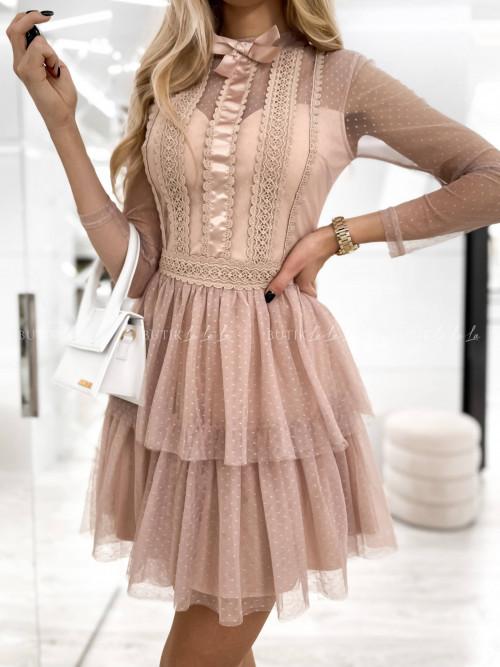 sukienka koronkowo tiulowa beżowa Torino