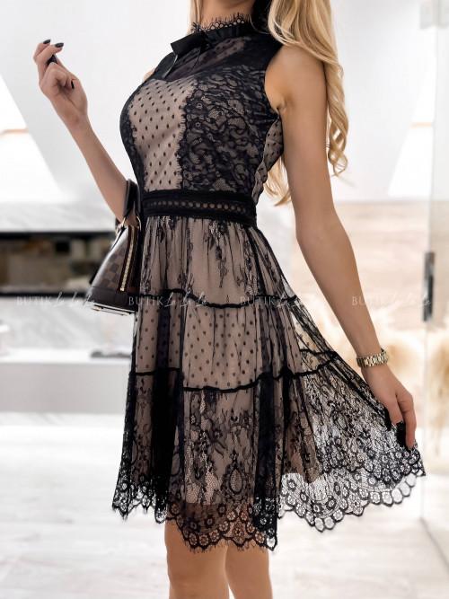 sukienka czarno bezowa Dass