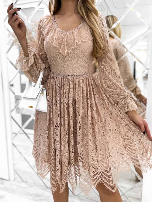 sukienka beżowa koronowa Simpl