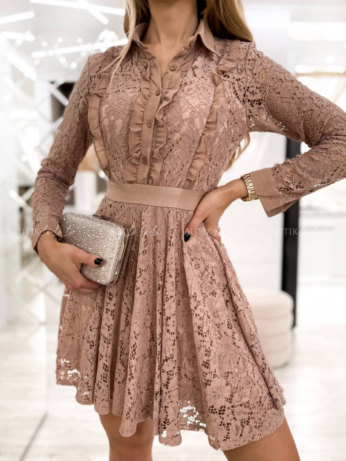sukienka beżowa koronowa Cinimy