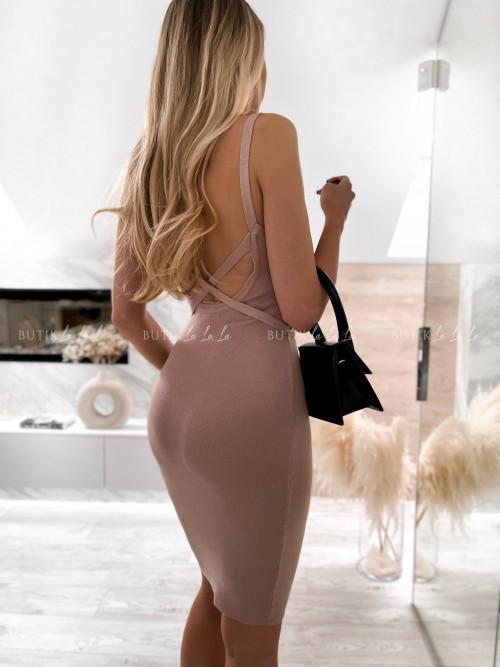 sukienka beżowa dopasowana Venus