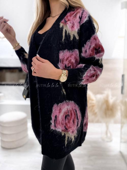kardigan w kwiatowy wzór czarny Madelin