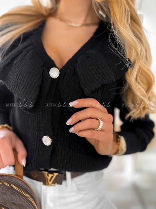 sweter z falbanką czarny Riss