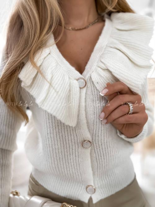 sweter z falbanką kremowy Riss